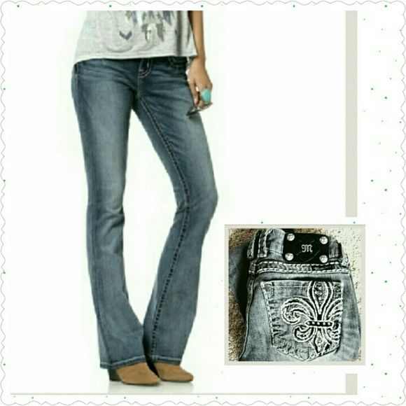 Miss Me studded jeans style Up for grabs.... Miss Me JP5109-3r Rhinestone Embellished Fleur de Lis Back Pockets Boot Cut Jeans Size: 25 X 31 Original Retail:$99.00 at the Buckle store...... Description:  These boot cut jeans in LTG 05 wash by Miss Me feature a fleur de lis design embroidered on the back pockets with thick white contrast stitching as well as rhinestone and brushed silvertone metallic studs and rivets. Light gray with lots of whiskering and fading which provides a wonderfully…