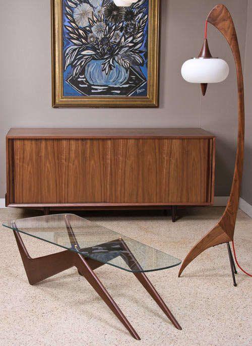 No. 41 Floor Lamp - Mid Century Modern furniture - coffee table - credenza artwork teak