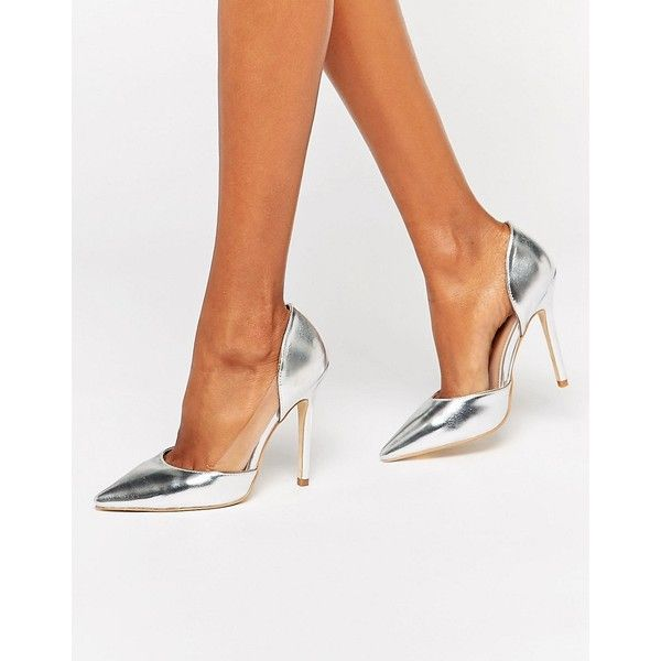 Public Desire Keely Clear Detail Silver Court Shoes (€29) ❤ liked on Polyvore featuring shoes, pumps, white, silver pumps, slip on shoes, white stiletto pumps, silver pointed toe pumps and silver stilettos