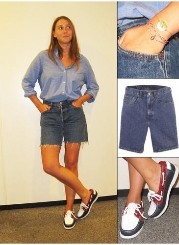 Office Style = Marion G. (05/07/2012)    Streetstyle Boyfriend    Chemise Gap  Short Levi's  Chaussures Sebago  Bracelets Vintage