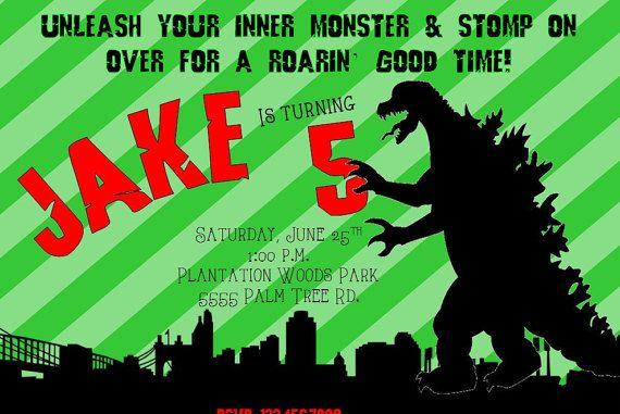 Godzilla Birthday Invite. Godzilla Party. Godzilla Banner.
