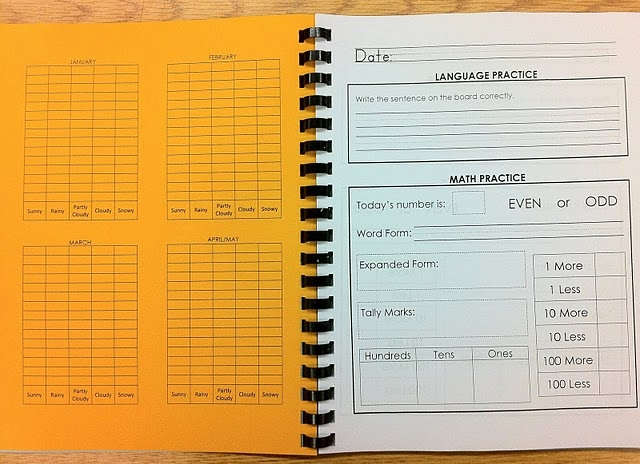 Everyday Learning Book- weather graphing, number of the day, handwriting