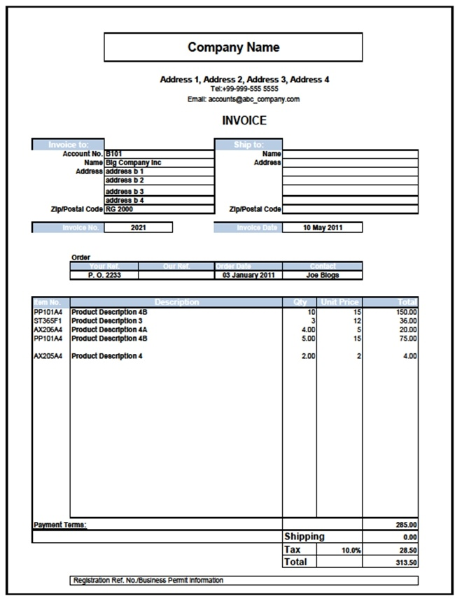 The Business Tools Store - Excel Templates for Invoices, Sales - Invoice Template Excel 2010