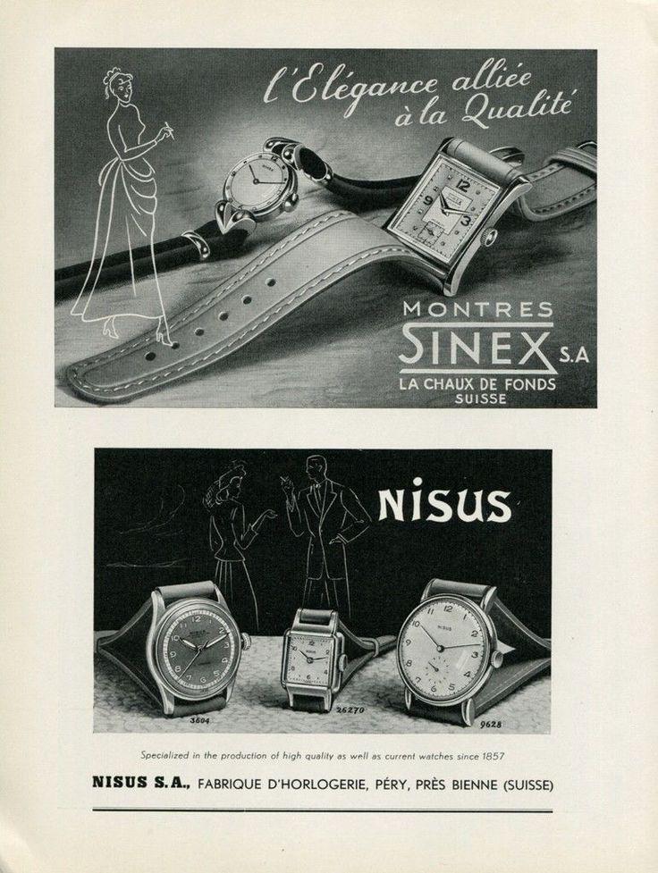 Vintage Original 1949 Sinex Watch Company Nisus Watch Company Swiss Print Ad | eBay