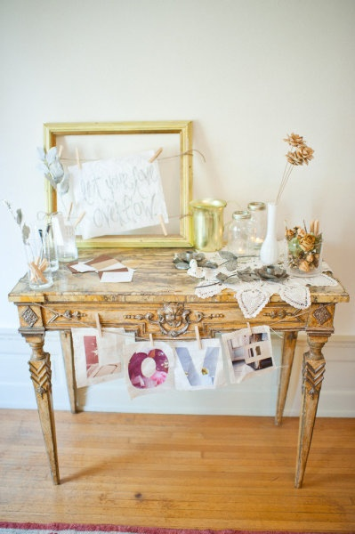 Wedding guest book signing area