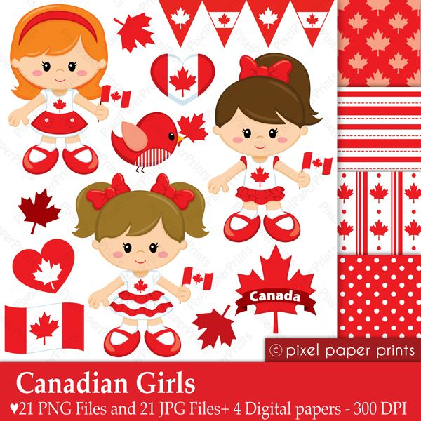 Canadian Girls - Canada Day adorable clipart girls and papers for your creative Canadian projects.