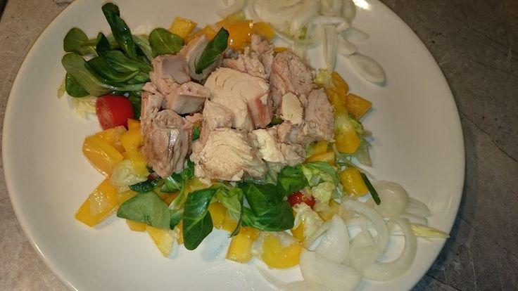 Zvířátkový den - salát s tuňákem a cibulí