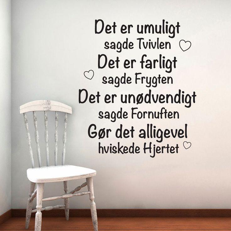Det Er Umuligt Wallsticker | wowo.dk - Danske wallstickers