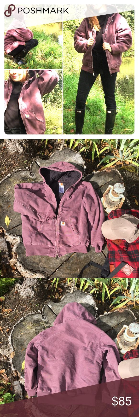 Carhartt Jacket This Carhartt Jacket in dusty plum is perfect for this coming fall and winter! THE accessory for you next outdoor adventure or just a trip to the pumpkin patch or tree farm! This has some wear from regular use- some pilling/etc. see pics. For size reference: this is a large and I normally wear size xs/s. Offers welcome or bundle and save! Happy poshing loves! 💕 Carhartt Jackets & Coats Utility Jackets