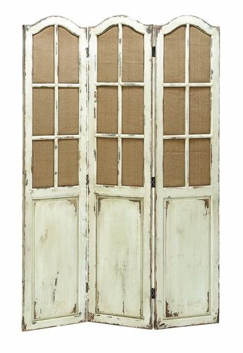 """71"""" Tall Shabby White Folding Privacy Screen Room Divider Country Cottage Chic"""