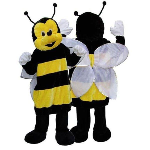 Deguisement mascotte d'abeille avec combinaison, chaussons, têtes et ailes. Un modèle coloré, original et amusant.