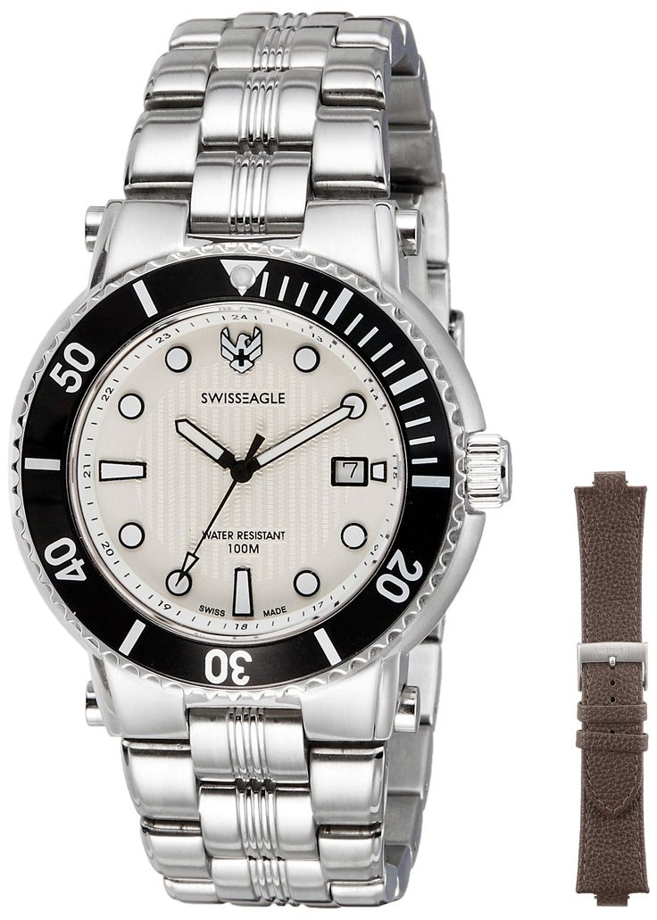 Swiss Eagle Men's SE 9016-02 Covert White Dual Strap Watch. Swiss made quartz. Interchangeable straps. Leather strap and stainless steel bracelet. Scratch resistance sapphire crystal. Water resistant to 330 feet (100 M): suitable for snorkeling, as well as swimming, but not diving.