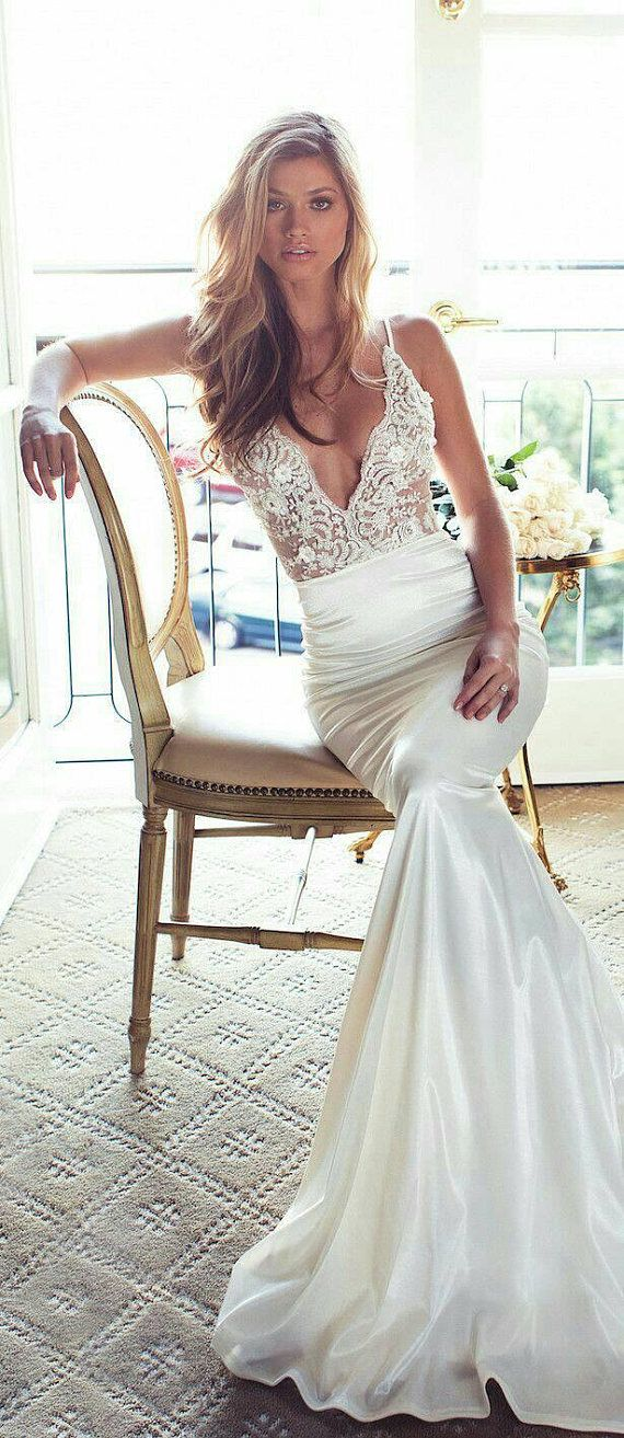 """Yours and Mine Bridal Bridal Gown """"Lovely"""": Women's Lace V-neck top, Satin Skirt, Boho Style Lace, U"""