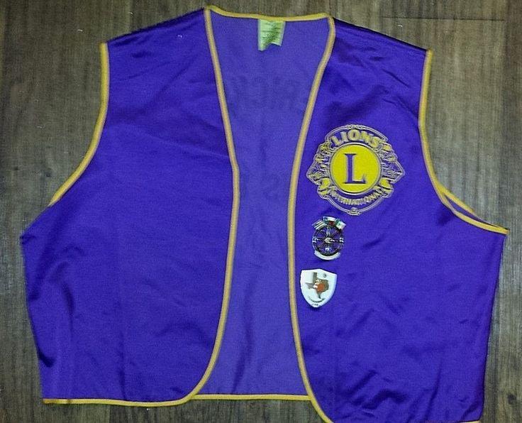 VINTAGE LIONS CLUB INTERNATIONAL PURPLE SATIN VEST WITH 2 LIONS CLUB PINS 1980's