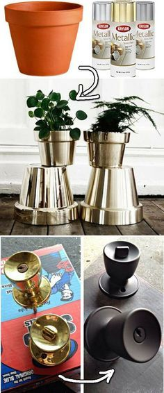 DIY Spray paint ideas: I was inspired by these amazing makeovers. Get inspired and try out these brilliant craft and project ideas for you home using just a spray can!
