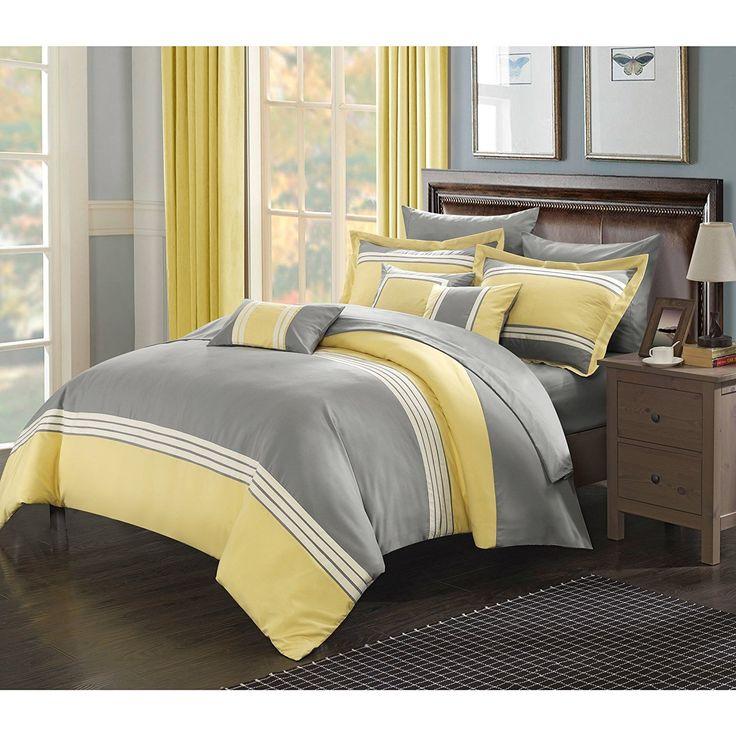 Grey White Yellow Horizontal Stripe Themed Comforter Queen Set Elegant Simple Striped Bedding Chic Stylish Modern Stripes Themed Pattern Gray