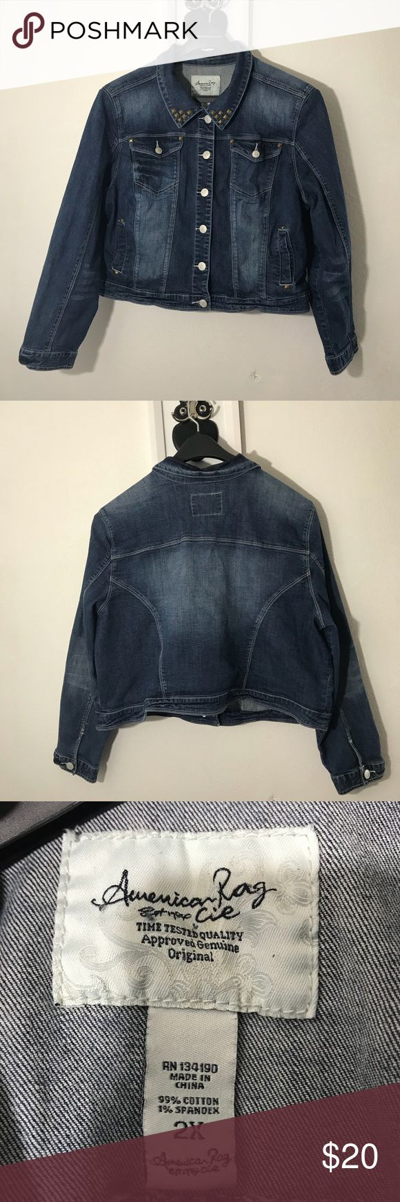 American Rag Denim Jacket Preowned-Denim jack with studs on the collar and front  pockets. No trades but open to reasonable offer American Rag Jackets & Coats Jean Jackets