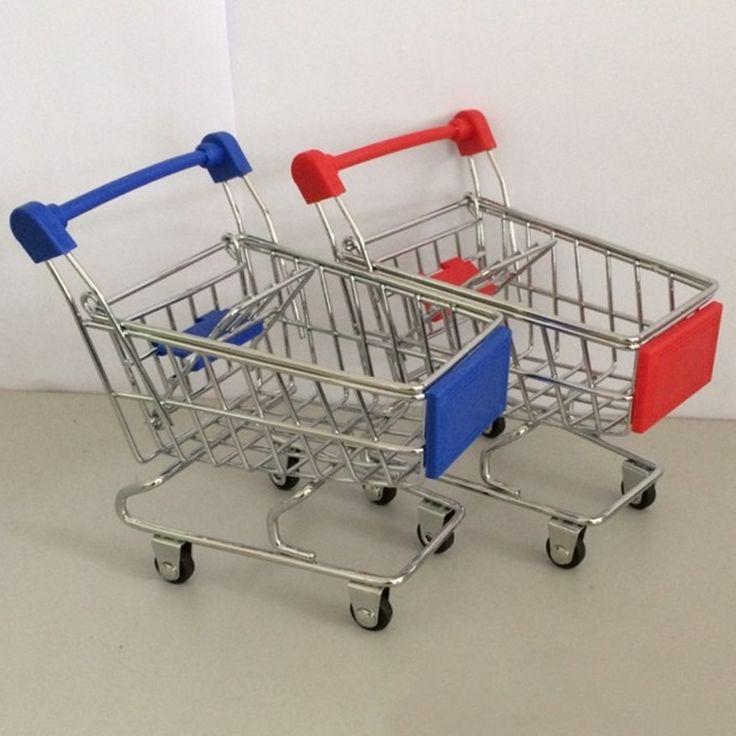 スーパーマーケットショッピングトロリー電話ホルダーオフィスデスク収納おもちゃカートナイザーミニショッピングトロリー手押し車のアクセサリー