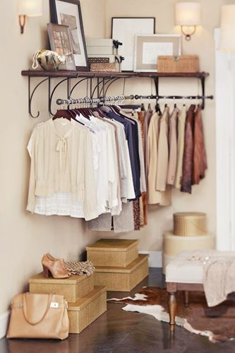 8 Ways To Make A Small Space Feel Huge #refinery29 http://www.refinery29.com/60678#slide3 Tip #3 Not blessed with a walk-in closet? Don't sweat it. All you need is a corner (or even a stretch of wall space) and this Pottery Barn storage system, and you've got a Carrie Bradshaw-worthy dressing area. You can make your own custom configuration, whether you just need some hallway storage for winter coats or want to go all out. This is a great alternative to a rolling rack, since it frees up ...