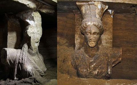 Two exquisite art caryatids, Thassian marble, revealed in yesterday (Saturday, September 6th) day of archaeological work in the Tomb of Ancient Amphipolis castes, which -in eidikous- advocates the view that this is a standing monument of special importance.
