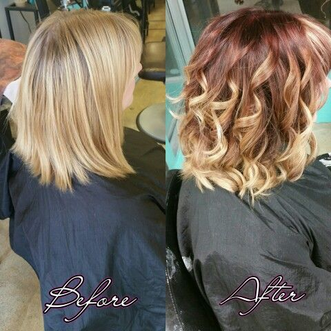 Red and blonde balayage haircut before and after shot.