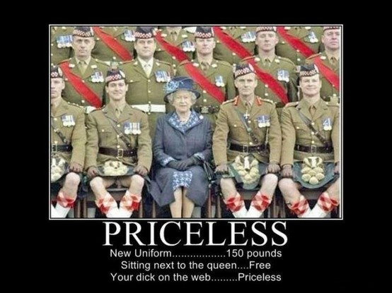 nuts for the Queen, scottish kilts, funny humor priceless epic win penis