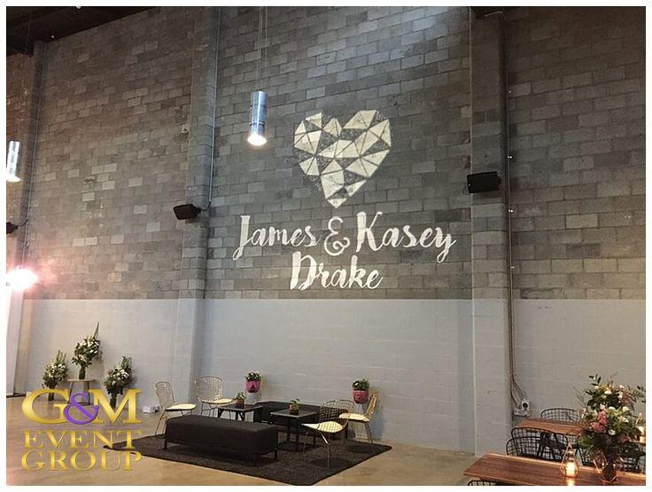 Kasey & James' wedding @ the Joinery West End - Custom Monogram | Wedding Lighting #warehousewedding #monogram #weddinglighting #gmeventgroup