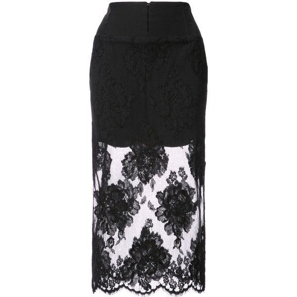 Fleur Du Mal lace pencil skirt (2.245 RON) ❤ liked on Polyvore featuring skirts, black, lace pencil skirts, knee length pencil skirts, knee length lace skirt, pencil skirts and lace skirts
