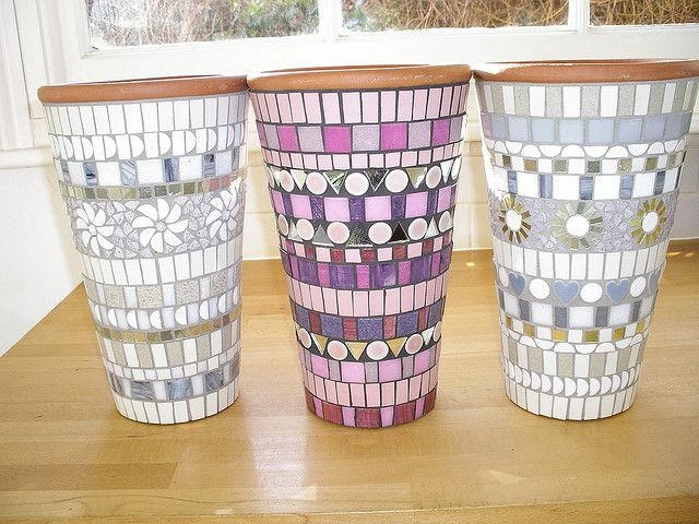 Series of 3 mosaic pots by BLUE DOG JEWELLERY, via Flickr