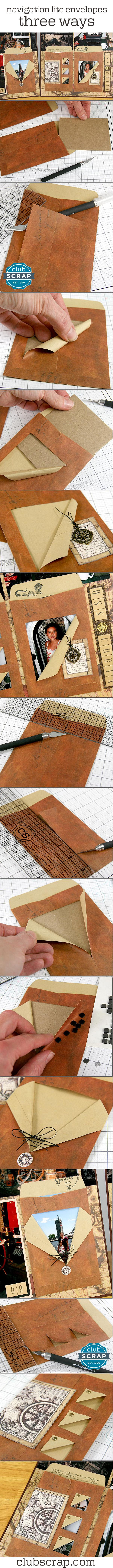 Clever ways to use envelopes on your scrapbook pages. Great for hidden journaling or extra photos! | Navigation Lite Vintage Envelopes - Club Scrap