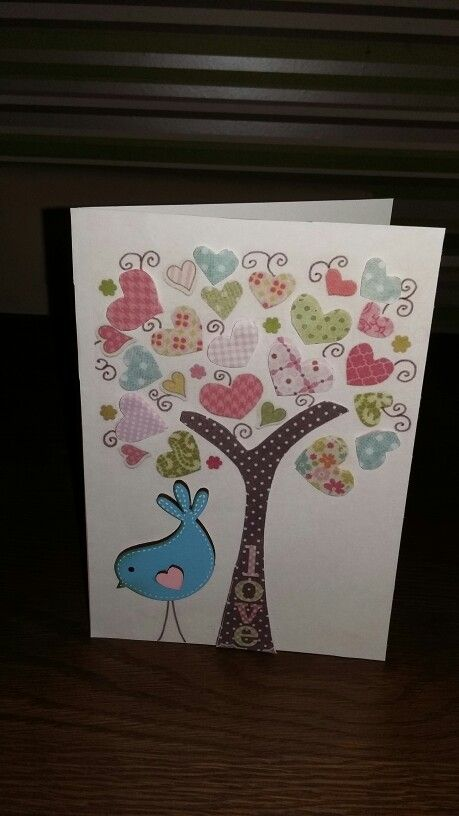 Made this for my sister for valentines day. Just to let her know i love her. Scanned from printables. Doubled up and padded out some of the hearts, and stuck a blue wooden bird over the original one. Makes it stand out abit more... Easy peasy. Xx