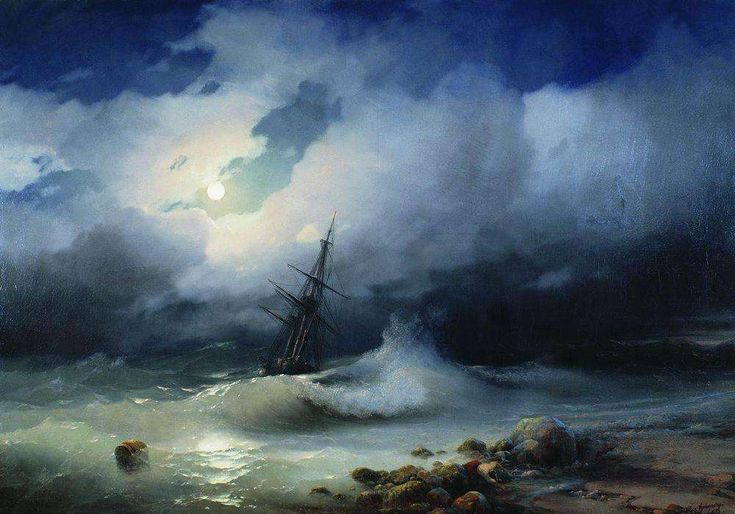 Ivan Aivazovsky - Бурное море ночью. 1853 - Айвазовский Иван Константинович