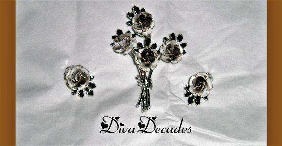 vintage brooch  vintage clip on  rose jewellery  by DivaDecades