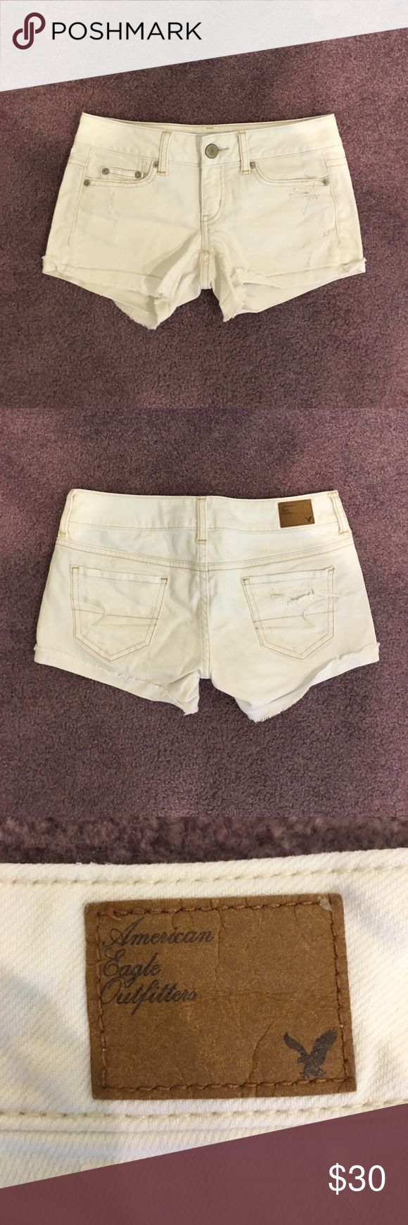 American Eagle Shorts American Eagle white denim shorts. These have some decorative rips. They are in excellent condition. American Eagle Outfitters Shorts Jean Shorts