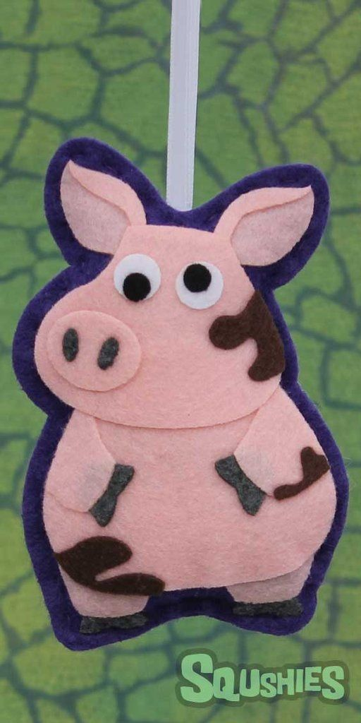 Squshies - Sir Francis the Pig - Felt Farm Animal Ornament