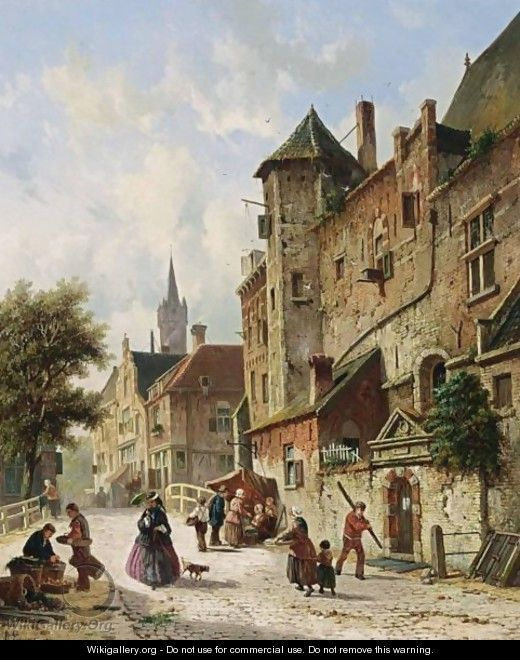 Villagers In The Streets Of A Dutch Town 3 - Adrianus Eversen