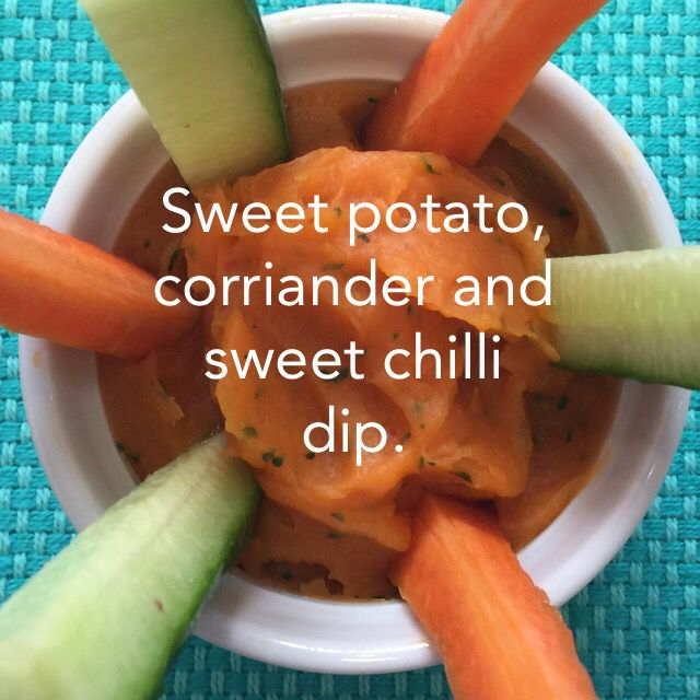 Sweet potato, coriander and sweet chilli sauce dip. Awesome for an afternoon snack or as a side dish with your dinner.