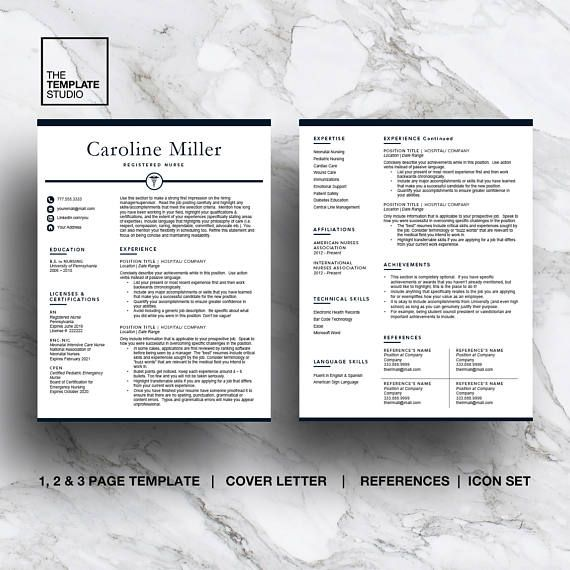 Nurse Resume Template for Word & Pages (1, 2, 3 page resume) + cover letter + icon set This navy blue resume featuring a caduceus is designed specifically for anyone in the medical field. • Compatible with Mac and PC for MS Word & Pages • Instant Digital Download - Medical Resume Template • QUICK and EASY to edit! • 100% CUSTOMIZABLE allowing you to delete or add sections, change colours, headings and fonts • Both US Letter and A4 sizes with a full bleed to guarantee easy borderless...