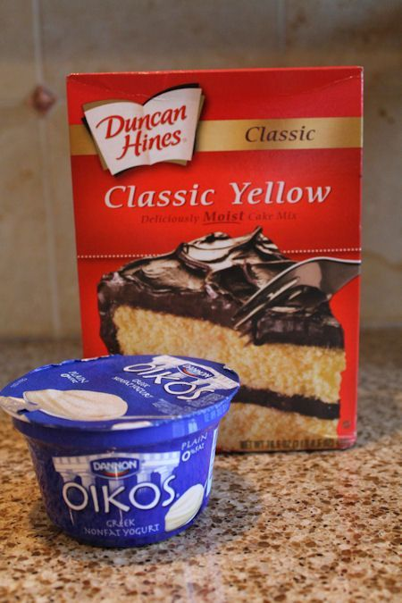 Greek Yogurt and Cake Mix. Good way to make a healthier cake. Any cake mix will do; I used carrot cake along with vanilla yogurt and applesauce.