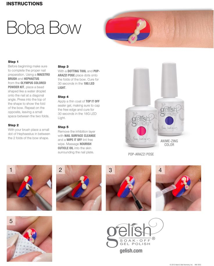 "Gelish Hello Pretty Step by Step ""Boba Bow"" #gelish #nailart"