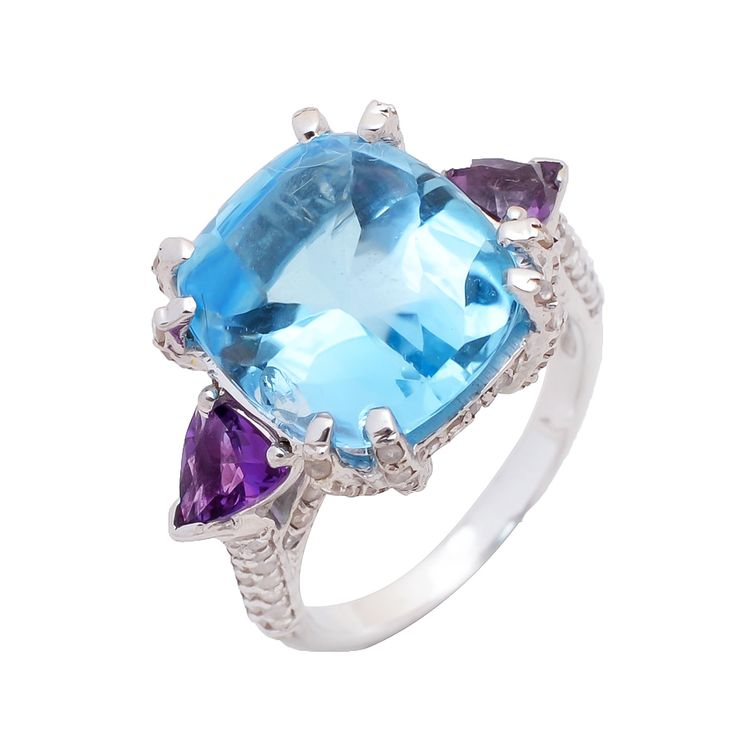Blue Topaz and Amethyst with diamonds in sterling silver.