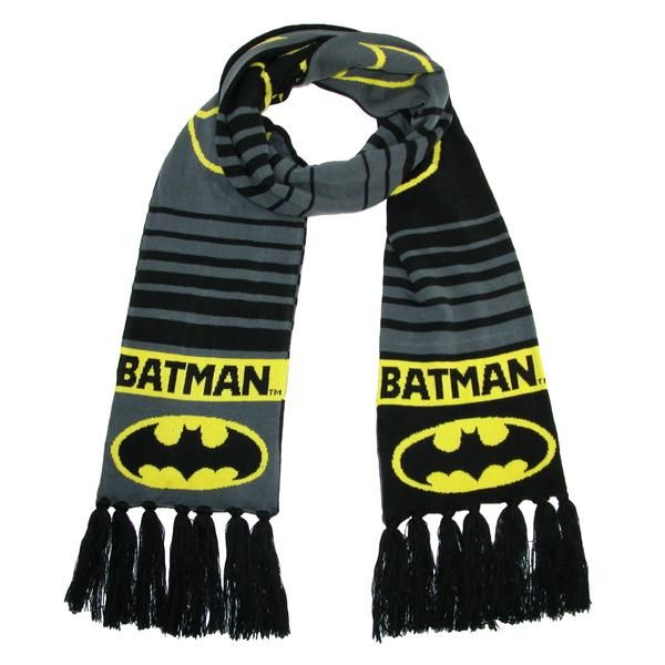 Honor the Black Knight hero with this Batman logo scarf. Featuring a large outline of the logo, and smaller filled in yellow logos. The long length and soft knit allows for comfort and warmth.