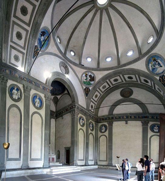 67. Pazzi Chapel interior. Basilica di Santa Croce. Italy. Brunelleschi. 1429-1461. Masonry.
