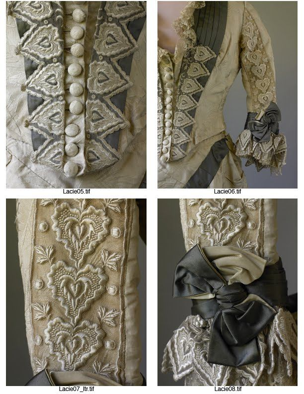 Detail, Bustled day dress 1880s.