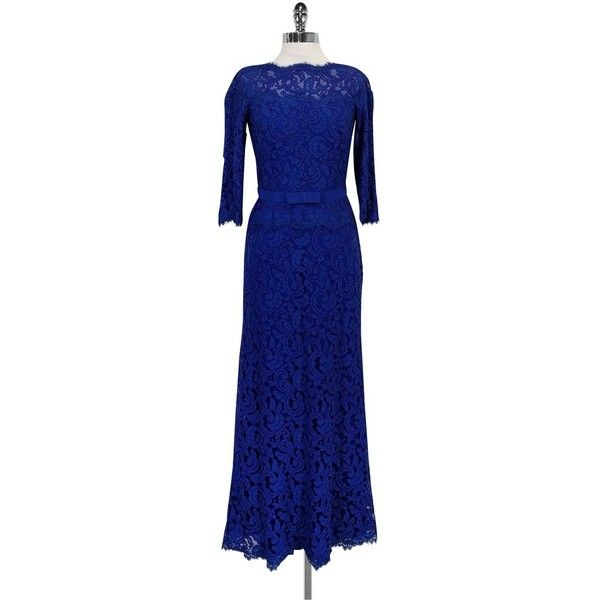 Pre Owned Tadashi Shoji Royal Blue Lace Maxi Dress 150 Pab Liked