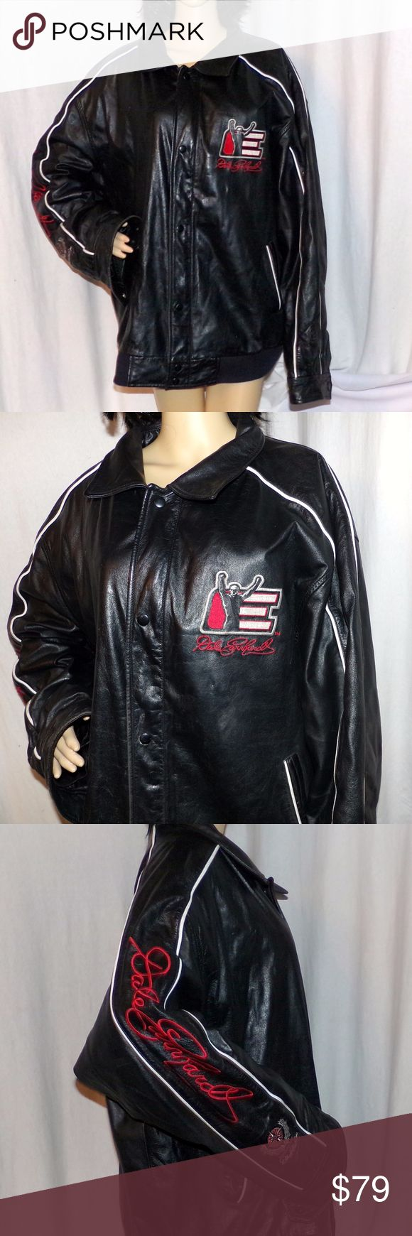 Dale Earnhardt 3 Leather Jacket Leather NASCAR Dale Earnhardt 3 Leather Jacket Real Leather NASCAR Rare The Intimidator Heavily Embroidered size XXL LOW & Fast Shipping. This is one amazing jacket 100 percent Leather and made by Wilson's leather and Chase Authentics the biggest names in leather and NASCAR. The lining is made of 100 Polyester. It is in Very good to Excellent condition. This is heavy leather and has snaps and a zipper to keep out the weather and as you know leather is the only…