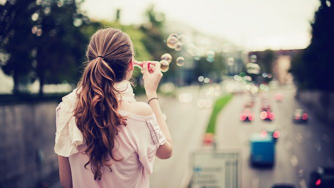 """Blowing bubbles anywhere, especially over a freeway...at rush-hour?! It touches my heart that a friend would say of this pin: """"This reminds me of Ella. :)"""""""