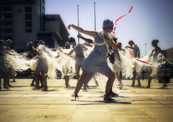 A street performance during the Infecting the City Public Arts Festival in Cape Town.