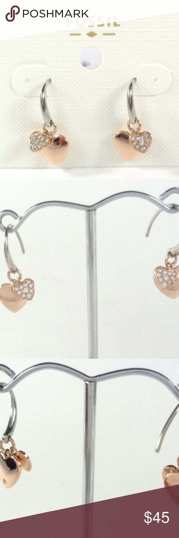 Fossil Rose Gold Crystals Double Heart Earrings SHIPS WITHIN 24 HOURS! 100% AUTHENTIC! NEW WITH TAGS! Fossil Women's Double Hearts Charms Pave Crystals Rose Gold tone Stainless Steel Earrings STYLE # JOF00236791 Stainless Steel Fish Hook Fossil Jewelry Earrings