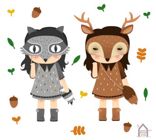 Racoon Girl and Deer Girl